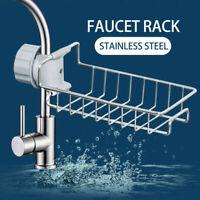 Faucet Shelf Stainless Steel Kitchen Storage Rack Soap Rag-Sponge Drain Hol V2I2