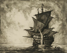 Carl WALTHER (1880-1956), Vor Anker liegendes Segelschiff, Kohle über Bleistift