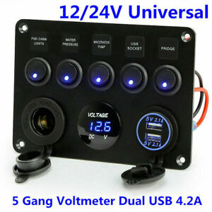 5 Gang ON-OFF Toggle Switch Panel 12V/24V Car Boat Marine LED Rocker Breaker USB