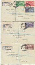 Stamps 1936 New Zealand Chamber of Commerce set 5 on 3 OAMARU registered covers