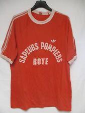 T-shirt ADIDAS vintage SAPEURS POMPIERS ROYE rouge années 80 coton trikot L