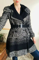 Stylish Karen Millen Coat Tweed Wool Uk 10 A-line Belt Grey Funnel Collar