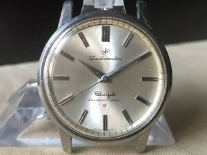 Vintage SEIKO Automatic Watch/ SEIKOMATIC Blue Yacht 17J Cal.603 SS For Repair