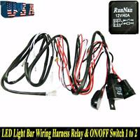 LED Light Bar 40A Wiring Harness Relay Kit ON/Off Switch for 2 Lamps Universal