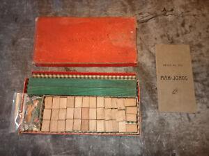 Ancien Jeu Mahjong pieces bois - TRES incomplet - ARKMEL - règle du jeu original