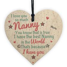 Gifts for Nanny Nan Granny Grandma Wooden Heart Sign Birthday Christmas Xmas