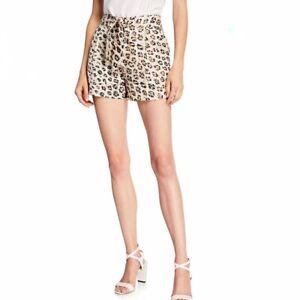 Joie Carden Leopard-Print Linen Shorts Tan, Brown, Black Size 6