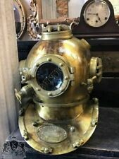 Antique Brass Scuba Marine Diving Divers Helmet US Navy Mark V Full Size 18""