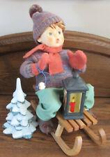 New ListingGoebel Hummel Soft Body Doll Ride In To Christmas Boy On Sled w/ Tree & Lantern