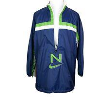 Vintage Nike Windbreaker Jacket 1/2 Zip * 90's * Blue Green White * Large Swoosh