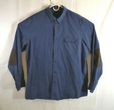 Nordstrom Men's Shop Size XL Elbow Patch Blue Long Sleeve Button Front EUC
