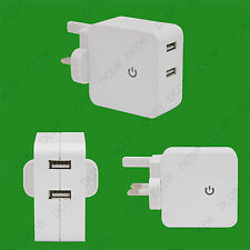 2.1A Dual USB Port 3 Pin Plug Mains Wall Charger Adaptor, Samsung Apple Tablet