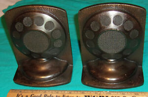 Iconic Double Button Carbon MICROPHONE BOOKENDS (PAIR) CAST IRON 1930's Clean!