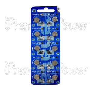 10 x Renata 394 Silver oxide batteries 1.55V SR936W SR45 V394 Watch 0% Mercury