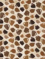 Coffee Fabric - Tossed Brown Mugs on Beige C5735 - Timeless Treasures YARD