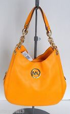 MICHAEL KORS Fulton Chain Leather Med Yellow Shoulder Tote+DustBag NWT $348+tax