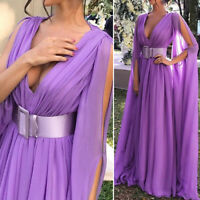 Women's Evening Cocktail Party Elegant Maxi Dress V Neck Long Sleeve Ball Gown