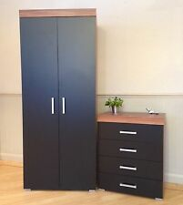 2 Door Wardrobe & 4 Drawer Chest in Black & Walnut Bedroom Furniture Set * NEW *