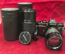 KONICA AUTOREFLEX TC Film Camera SLR 35mm Black W/ 135mm and 200mm Lenses.