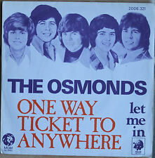 """THE OSMONDS """"ONE WAY TICKET TO ANYWHERE""""  45T  2 TITRES"""