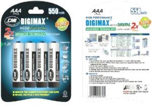 4 x Digimax AAA Rechargeable Batteries 550 mAh phone 550mAh NiMh 1 x 4 pack