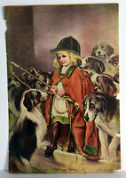 """15"""" Antique 1909 Print V. Sloan The New Whip Boy With Hunting Dogs Art Decor"""