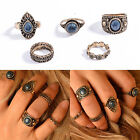 5Pcs Punk Retro Women Knuckle Rings Tribal Ethnic Hippie Stone Joint Ring Set