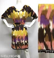 MILLY Silk Cotton BOLD Colorful IKAT Print Dress POM POM Trim 8 M RARE HTF! $525