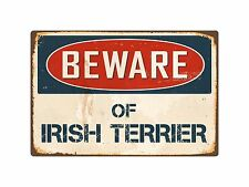 "Beware Of Irish Terrier 8"" x 12"" Vintage Aluminum Retro Metal Sign Vs222"