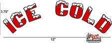 "12"" ARCHED RED ICE COLD SODA COCA COLA PEPSI COOLER DECAL STICKER"