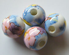 30pcs 10mm Round Porcelain/Ceramic Beads - White / Pink Flowers on Sky Blue