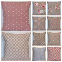 Clarke and Clarke Mix Match Taupe Pink Blue Floral Spot Cushion Cover