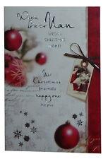(185) Single Christmas Card - Nan - Baubles