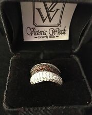 HSN Victoria Wieck Absolute Chocolate & White Pave CZ Eternity Band Ring Sz 7.5