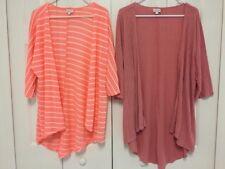 Lot of 2 LuLaRoe Knit Cardigan Sweaters Sz S Small Peach Striped Pink EUC