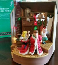 RARE Enesco Style Christmas In The Attic Multi-Action/Lights Music Box MIB
