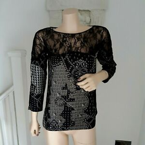 Zara  ladies Pattern Blouse With Lace Panel size 10 UK black with multicolours