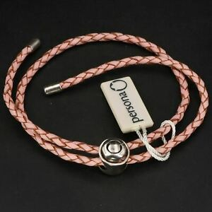 "NEW Sterling Silver PERSONA Double Wrap Braided 14.5"" Pink Leather Bracelet - 8g"