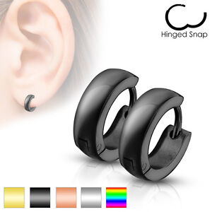 Mens Surgical Steel  IP Huggie Hoop Hinged Earrings