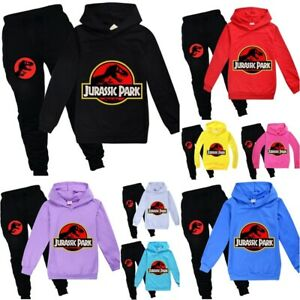 Kids Jurassic Park  Boys Girls Hoodies Jumper Tops+Pants Outfit Sport Tracksuit