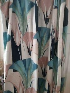 "vintage Montgomery ""Lautrec"" curtains.blues and peach colours."