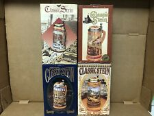 Four, Anheuser-Busch Budweiser 1988 - 1991, Classic Beer Stein in Boxes, New