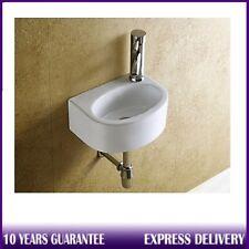 Compact Small D-Shape Wall Hung Cloakroom Ceramic Mini Basin Sink 295mmx220mm