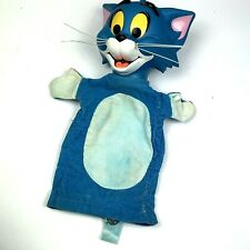 Vintage Mattel Tom & Jerry Hand Puppet 1965 Blue Cat Distressed Repair Corduroy
