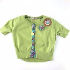 Lola Et Moi Boutique Little Girls Cardigan Sweater 4 Years Green Crochet Flowers