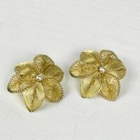 Vintage Gold Tone Flower Earrings Clip On Style Faux Pearl Accents