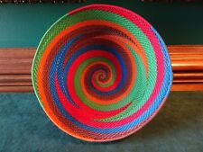 """SOUTH AFRICA LARGE ZULU TELEPHONE WIRE WOVEN BASKET BOWL, 8.5"""" D, HANDMADE"""