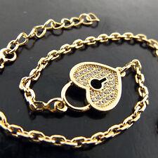 BRACELET GENUINE REAL 18K YELLOW G/F GOLD DIAMOND SIMULATED PADLOCK HEART DESIGN