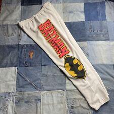 Vintage Rare 1989 Batman Big Print White Sweat Pants Size Medium