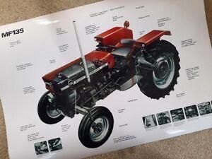 Massey Ferguson 135 165 185 Cutaway Cross Sectional Poster Brochure Very Rare